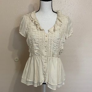 Anthro Odille Kinship Ivory Ruffle Smocked Top